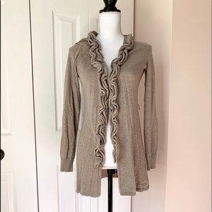 Brown Ruffle Sweater/Cardigan